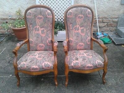 French antique vintage Louis Philippe style matching armchairs
