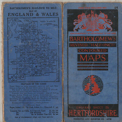 Vintage Bartholomews Revised Half Inch Contoured Map Cloth No.25 Hertfordshire