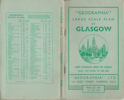 Vintage Geographia Large Scale Plan Of Glasgow With Index To Streets  Paper