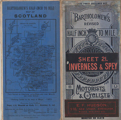 Vintage Bartholomews Revised Half Inch To Mile Cloth Map Sheet 21 Inverness Spey