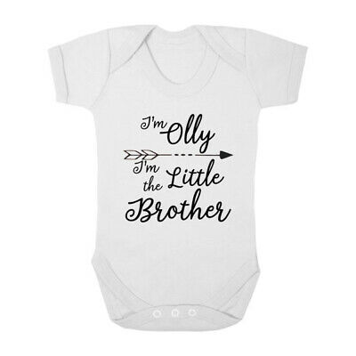 Personalised I'm the Little Brother Baby Grow Bodysuit New Baby Gift Baby Shower