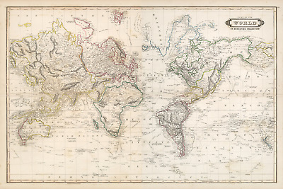 World Old 1841 Antique Map Mirrored (Extreme Definition PDF) Mercator projection