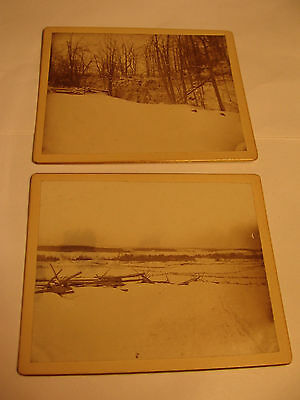 Two 1800's Winter Cabinet Card Views