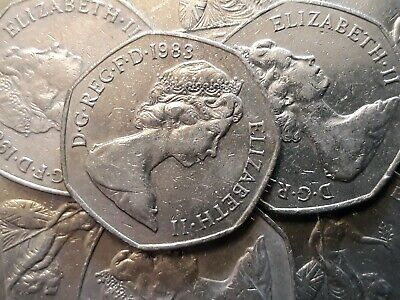 1983 BRITANNIA. Large Old 50p. Fifty pence. Circulated