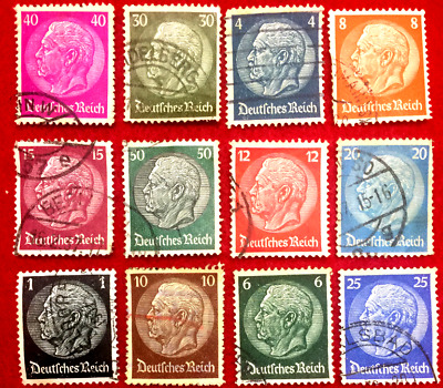 AUTHENTIC WORLD WAR-II Used German 12 Different Stamps -Very Rare