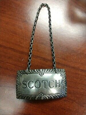Stieff Sterling Silver Williamsburg Restoration Scotch Decanter Tag Patina