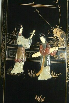 """Vintage Lacquer Chinese Carved Soapstone Wall Art Panels 12"""" x 36"""""""
