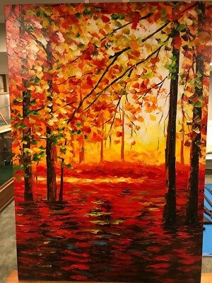 Leonid Afemov Original Oil Painting Of Forest Trees On Stretched Canvas Vibrant