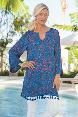721d19028ad Soft Surroundings Blue Red Belle Batik Tunic Top Beach Cover Tassels Rayon  Sz M