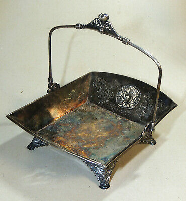 Antique c1900 MERIDEN Co. Silverplate BASKET Figural CHERUBS Victorian Aesthetic