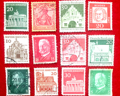 AUTHENTIC WORLD WAR-II Used German 12 Different Stamps -Very