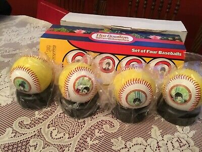 THE BEATLES YELLOW SUBMARINE SET OF 4 BASEBALLS With STANDS New in Box FREE SHIP