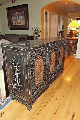 VERY OLD 1887 Chinese Artistic Graphic Cabinet Buffet Credenza HAND CARVED INLAY