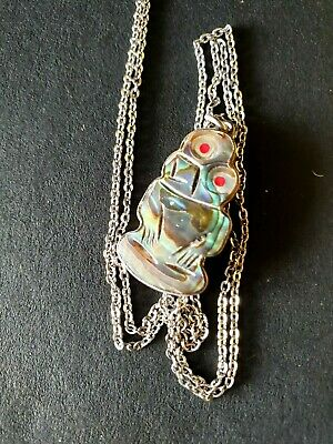 Old New Zealand Carved Paua Shell Tiki with Silver Backing on Local Silver Chain