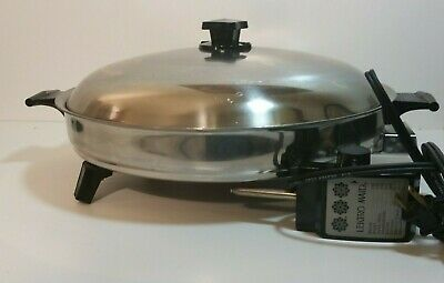 "VTG West Bend #1 Control 13"" LECTRO MAID 1500W Electric Skillet RARE Made in USA"