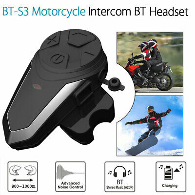 1000M BT-S3 Moto Ski Intercom Bluetooth Interphone Casque Imperméable GPS I8Q4
