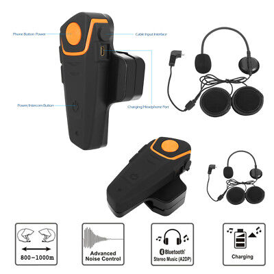 2x 1000M BT-S2 Bluetooth Interphone Casque de Moto Helmet Intercom FM Radio H4W4