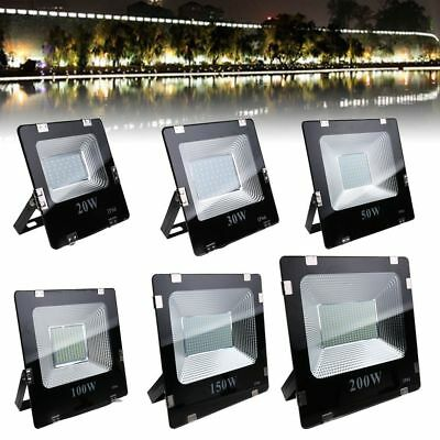 20-200W SMD LED Flood Light Landscape Outdoor Lamp Spotlight 85-265V IP66 White