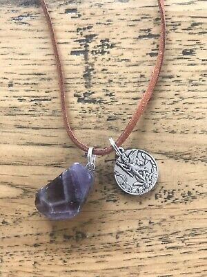 Natural amethyst crystal with St Michael the archangel necklace