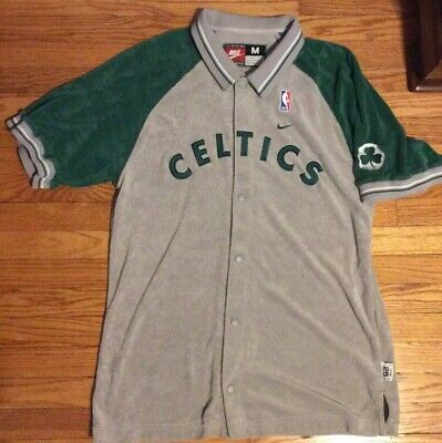 7e388825229e Authentic Boston Celtics NBA Nike BUTTON DOWN WARM UP SHIRT JERSEY Mens  Medium M