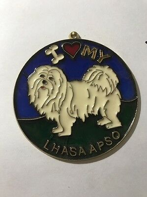 Vintage 1980s I heart my LHASA APSO Suncatcher HOW COOL Gotta Love It WOOF SC-19