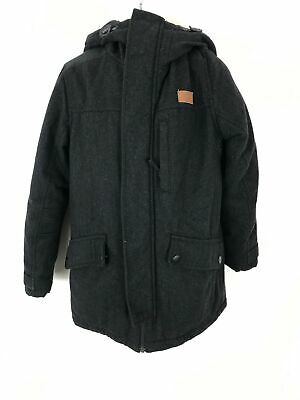 Boys Next Kids Black Zip Up Wool Coat Jacket Hooded Size 10 Years Old