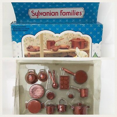 Sylvanian Families Copper Utensils Country kitchen Bronze Pans Calico Critters