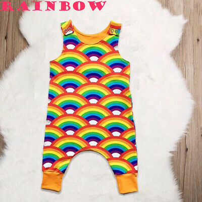 Fall Baby Boy Girls Rainbow Dungarees Pants Cute Jumpsuit Romper Outfits Clothes