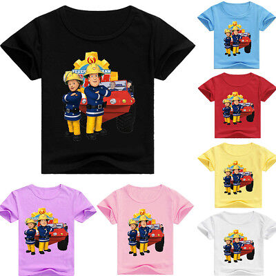 Boys Girls Fireman Sam Kids Cartoon T-shirt Short Sleeve Casual Summer Clothing