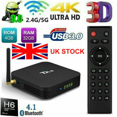 TX6 Android 9.0 TV BOX 4GB 32GB H6 Quad Core BT 4.1 WiFi 4K 3D Media Player