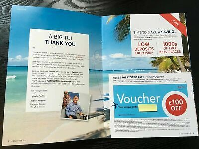 TUI/ First Choice - Unique £100 Discount Voucher Summer Holiday 2019