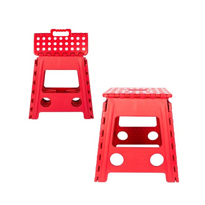 Large Folding Step Stool White And Red Anti Skid Ladder Aid Handle Home Workplac