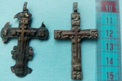 Russian Orthodox Christian Byzantine Schema Style Cross . 19th century 2 pieces+