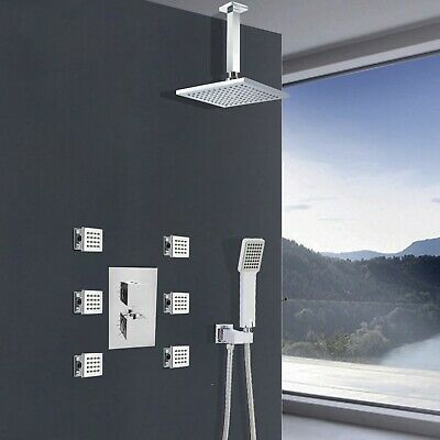 Chrome Thermostatic Shower Ceiling Set Body Jet Kit Concealed 3 Way Mixer Valve