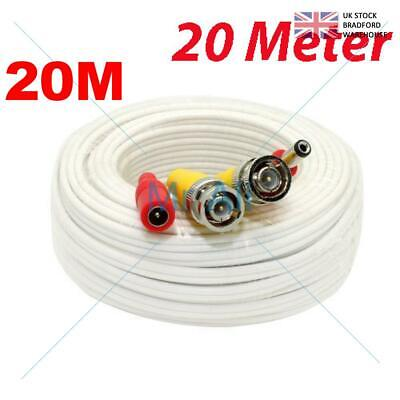 20mMETRE PRE-MADE SIAMESE CABLE CCTV BNC VIDEO AND DC POWER CABLE W 20M