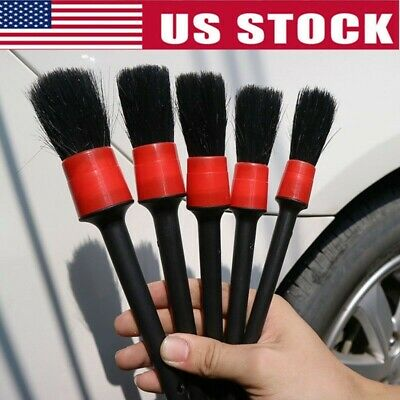 US 5Pcs Car Cleaning Brushes Natural Boar Hair Detail Brush Auto Detailing Tools
