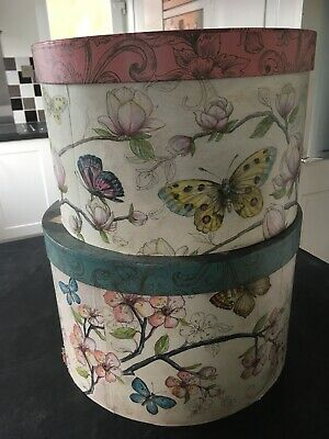 Hat Box Wedding Decoration Floral Butterflies French Vintage Round Storage Cake