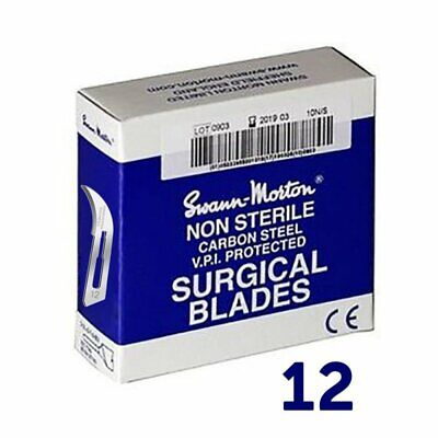 100 Genuine Swann Morton Scalpel Steel Surgical Blades Non-Sterile No.12 Blue Bo