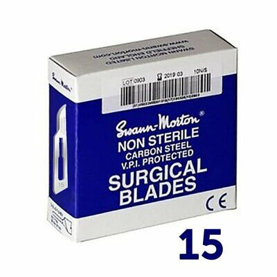 100 Genuine Swann Morton Scalpel Steel Surgical Blades Non-Sterile No.15 Blue Bo