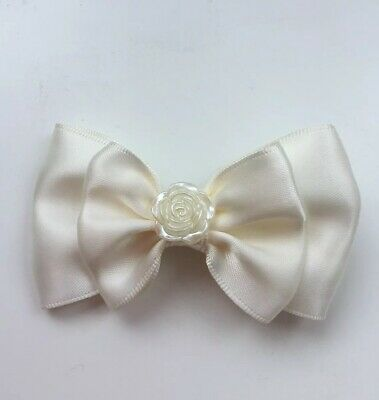 "Wedding Flower Girls Ivory Bow Small 3.5"" Ivory Satin Hair Bow Clip & Rose Bud"