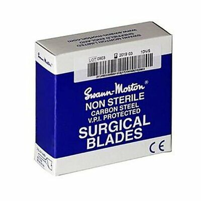 100 Genuine Swann Morton Scalpel Steel Surgical Blades Non-Sterile No.26 Blue Bo