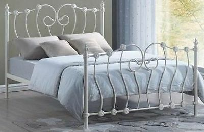 5ft Inova kingsize in Ivory - Victorian style metal bed frame. Free Next Day Del
