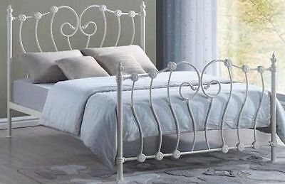 Inova Double 4ft6 Ivory Victorian style metal bed frame. Free Delivery-next day