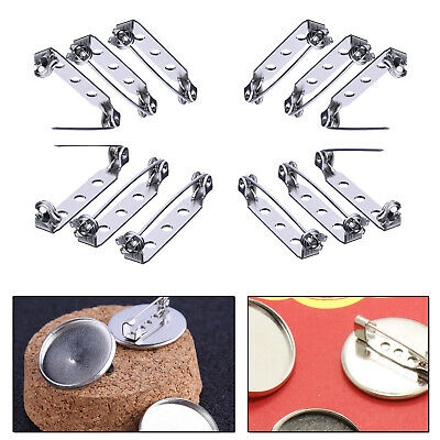 25mm Silver Tone Brooch Back Safety Pins Badge Fastener for Jewellery Costumes