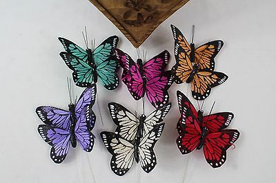 12 Real Feather Butterflies On Silver Wire Stem 9cm Mixed Colours Butterflys