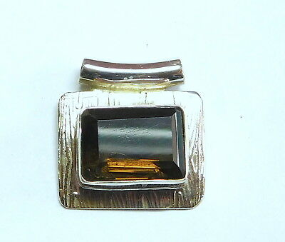 925 Sterling Silver Smoky Quartz gemstone Pendants 5.20g T1362