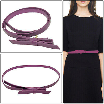 Kids Fashion Bowknot Skinny Thin Faux Leather Waist Belt
