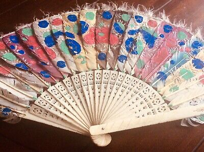 Antique Bone And Feather Fan Hand Painted Oriental Chinese Folding Fan