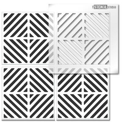 Chevron Square Reusable Tile STENCIL. Geometric -Floor, Wall for painting 10833