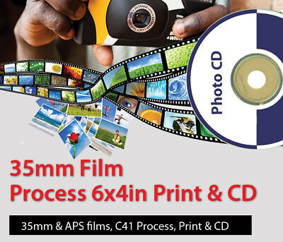 35mm / APS C41 Colour Film processing, CD and Prints (6x4 inch)